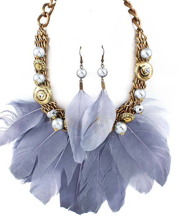 Lauri Feather Necklace Set