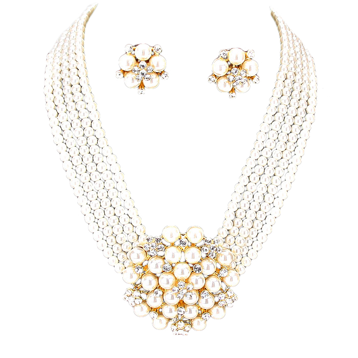 Sally Faux Pearl Necklace Set.