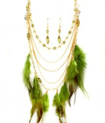 Ramona Feather Necklace Set