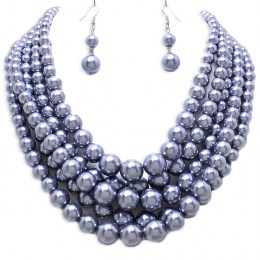 Janie Faux Pearl Necklace Set.