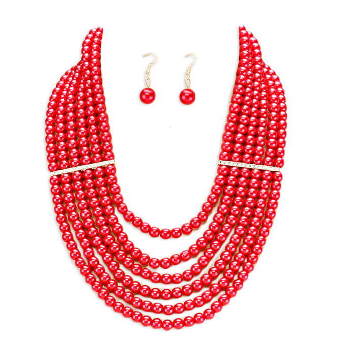 Gia Faux Pearl Necklace Set